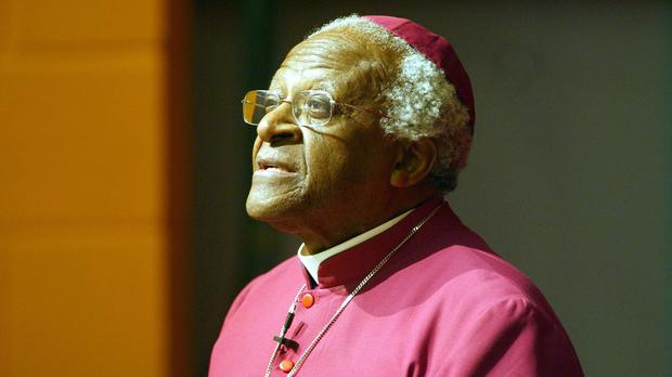 Desmond Tutu is resting at home after treatment in hospital for an infection (AP)