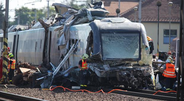 The train hit the truck at a rail crossing in the eastern town of Studenka