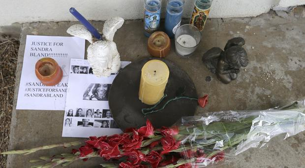 A memorial outside the Waller County Jail in Hempstead, Texas, where Sandra Bland died in a cell (AP)