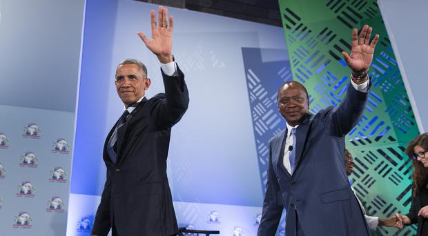 President Barack Obama, left, and Kenyan President Uhuru Kenyatta at the Global Entrepreneurship Summit in Nairobi