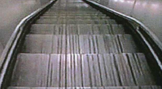 The woman died in the escalator accident but saved her two-year-old son by pushing him to safety