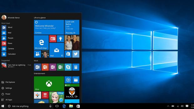 Microsoft's Windows 10 start menu