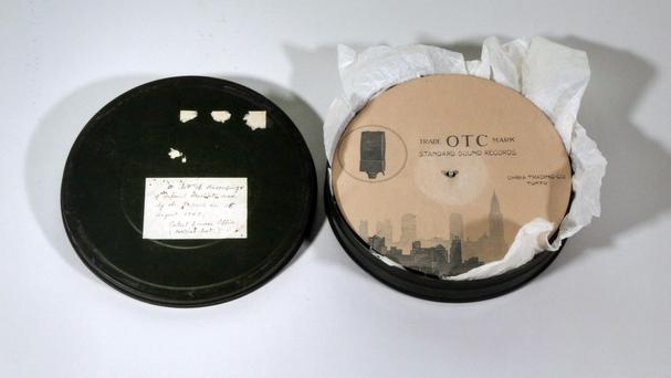 a container which stored the original recording of Japan's Emperor Hirohito's war-ending speech and another after-war address in Tokyo (Imperial Household Agency of Japan/AP)