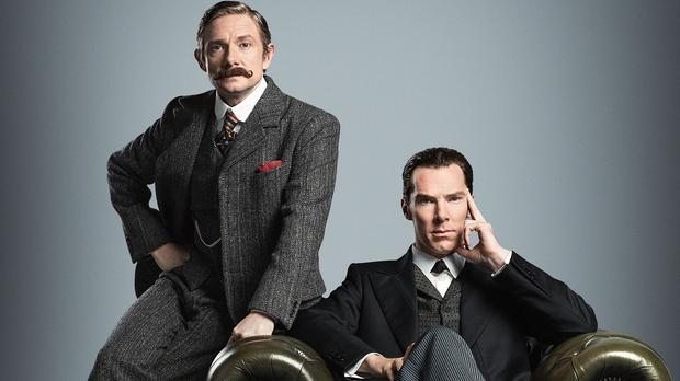 Benedict Cumberbatch and Martin Freeman in period costume ahead of the forthcoming Sherlock Special made for BBC One by Hartswood Films