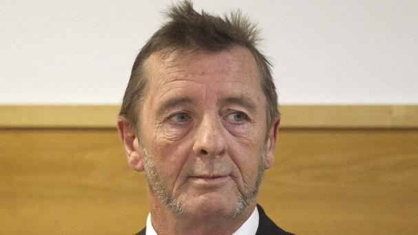 AC/DC drummer Phil Rudd pictured in the dock at a court in Tauranga, New Zealand, in April (New Zealand Herald/AP)