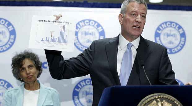 New York City mayor Bill de Blasio holds up a chart documenting the cases of Legionnaires' disease (AP)