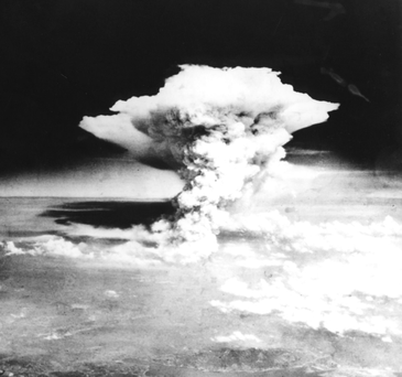 The atomic bomb explodes in Hiroshima