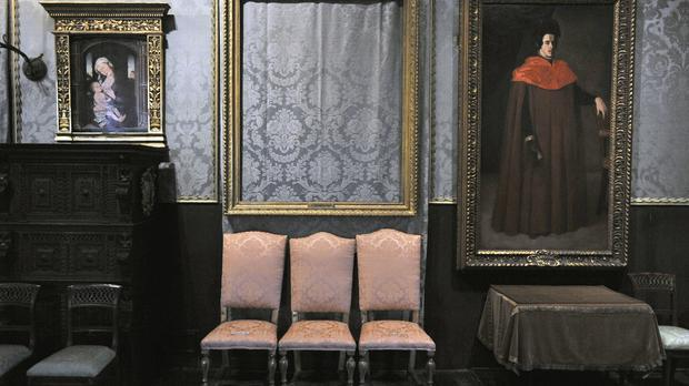 The empty frame from which thieves cut Rembrandt's Storm on the Sea of Galilee at the Isabella Stewart Gardner Museum in Boston (AP /File)