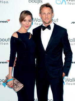 Jenson Button with his wife Jessica