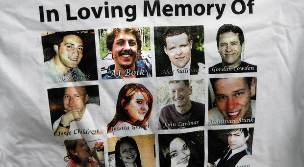 A T-shirt paying tribute to the 12 people killed in the Colorado cinema attack (AP)