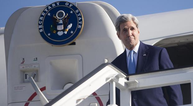 John Kerry arrives at Jose Marti International Airport in Havana, Cuba. (AP)