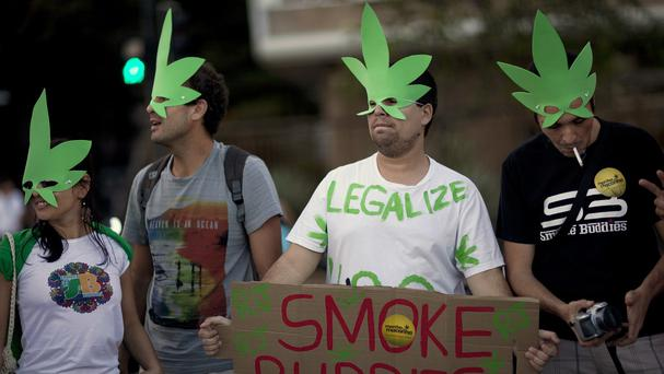 Demonstrators wear cannabis-shaped masks to support the legalisation of marijuana in Rio de Janeiro, in 2013 (AP)