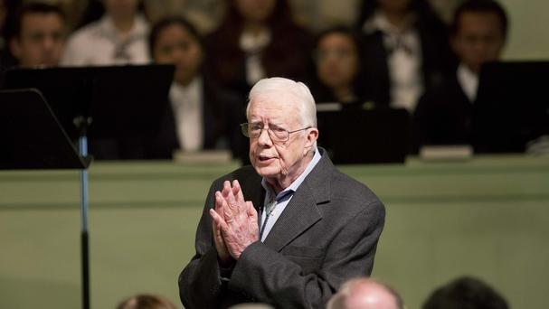 Former president Jimmy Carter teaches Sunday School class at Maranatha Baptist Church in his Georgia hometown (AP)