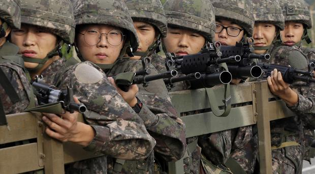 South Korean army soldiers near the demilitarised zone that divides the two Koreas