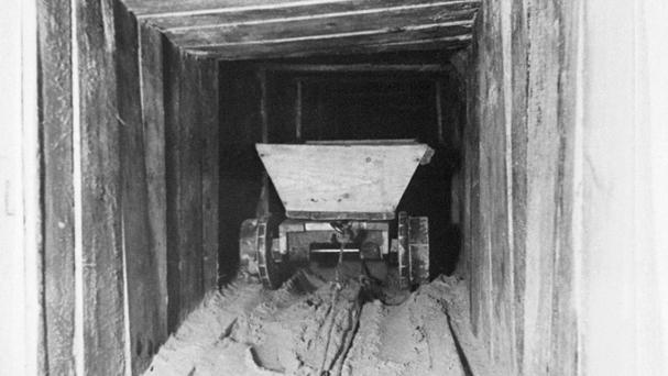 A trolley in the escape tunnel originally built by Allied airmen at the German Stalag Luft III prisoner of war camp