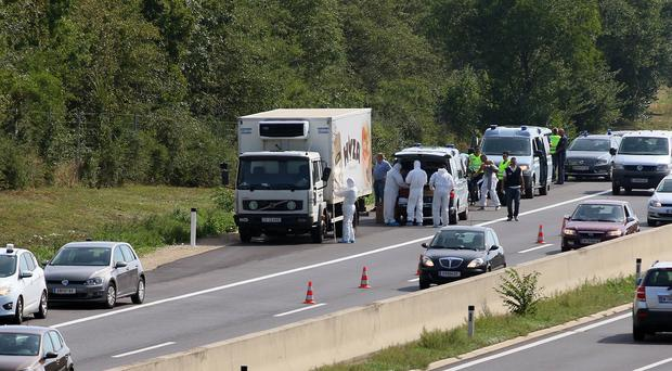 The bodies were found in a truck on the main route connecting Vienna with Budapest (AP)
