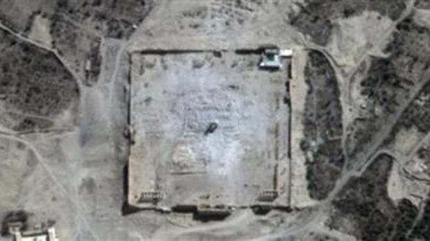 This satellite image provided shows damage to the main building of the ancient Temple of Bel in the Palmyra (UNITAR-UNOSAT/AP)