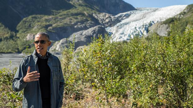 President Barack Obama on a hike to the Exit Glacier in Alaska (AP)