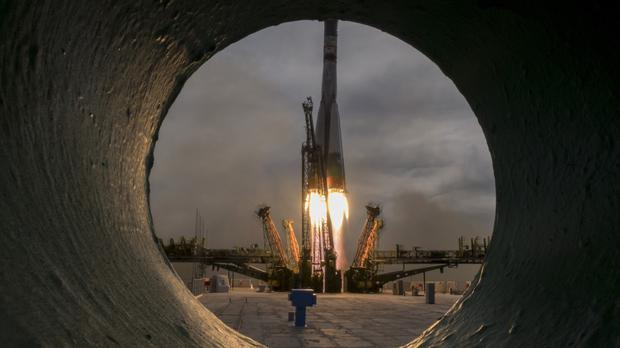The Soyuz spacecraft launched from the Russian-leased Baikonur cosmodrome in Kazakhstan. (AP)