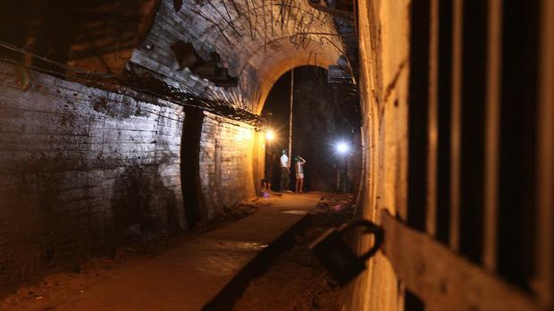 A tunnel found about 50 metres under Ksiaz Castle as Polish authorities hunt for a Nazi train loaded with gold. (AP)