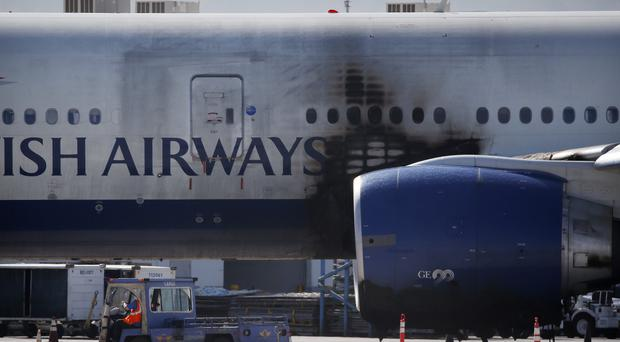 Damage is visible on the British Airways Boeing 777-200 at McCarran International Airport (AP)