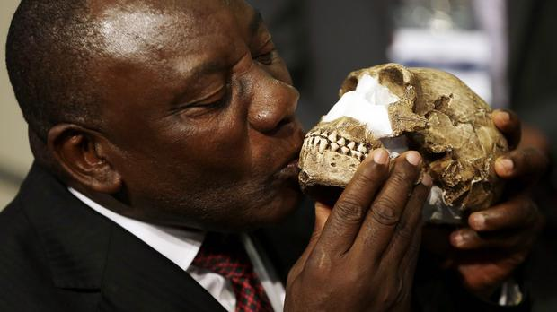 South Africa's deputy president Cyril Ramaphosa, kisses a reconstruction of Homo naledi's face. (AP)