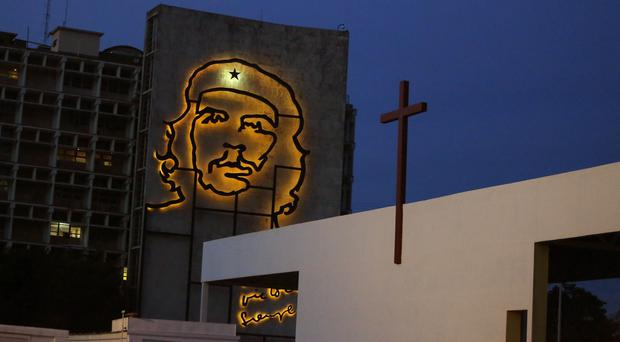 An image of Che Guevara beside an altar under construction ahead of Pope Francis's visit to Havana. (AP)