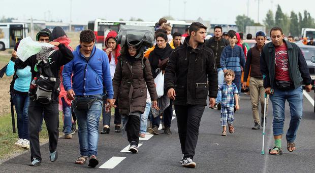 Refugees on the road between Austria and Hungary. (AP)