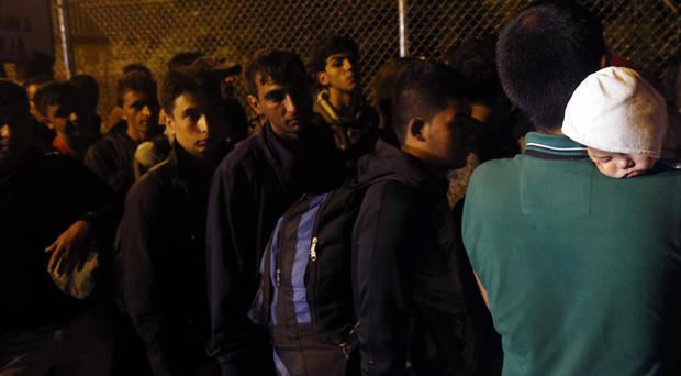 Migrants enter Hungary at the
