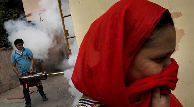 A woman covers her face as a municipal worker fumigates a residential area to prevent mosquitoes from breeding in New Delhi. (AP)
