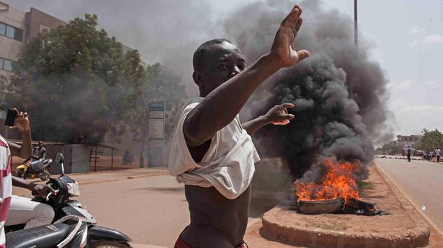 Protests on the streets of Ouagadougou, Burkina Faso. (AP)