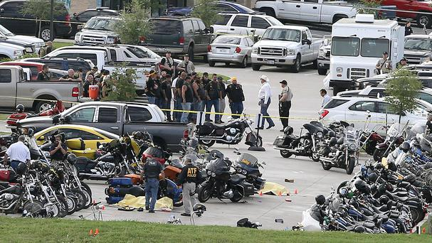 The aftermath of the shootout in the car park of the Twin Peaks restaurant in Waco. (AP)