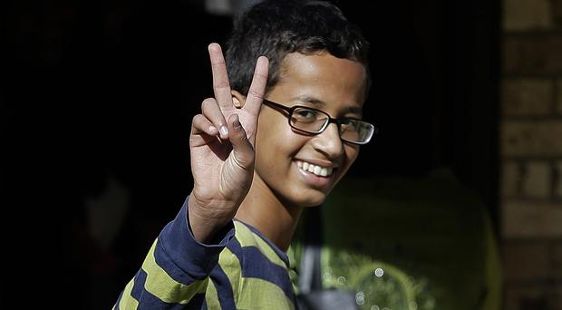Ahmed Mohamed was arrested at his school after a teacher thought a home made clock he built was a bomb (AP)