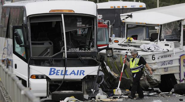 A Ride the Ducks tour vehicle crashed into a college charter bus, killing four people (AP)