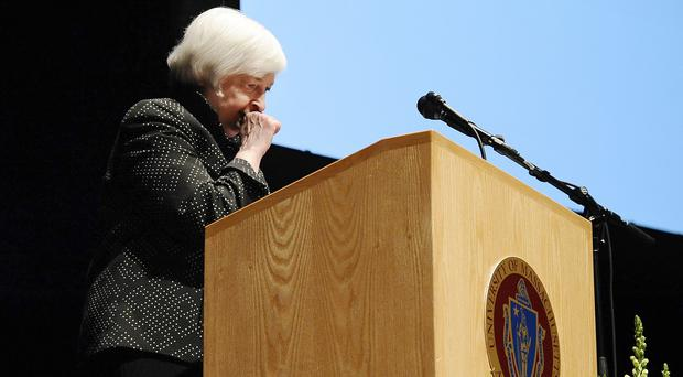 Federal Reserve chairwoman Janet Yellen coughs and takes a long pause during a speech at the University of Massachusetts (AP)