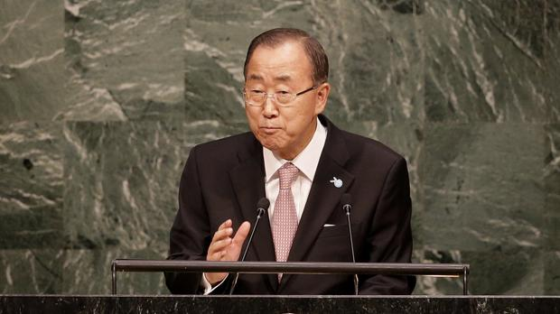 UN Secretary-General Ban Ki-moon told the General Assembly that the test will be implementation, calling for action from all people, everywhere, and high-level political commitment (AP)
