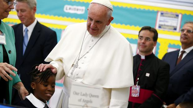 Pope Francis visits Our Lady Queen of Angels School in East Harlem (AP)