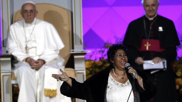 Pope Francis looks on as Aretha Franklin performs during the Festival of Families (AP)