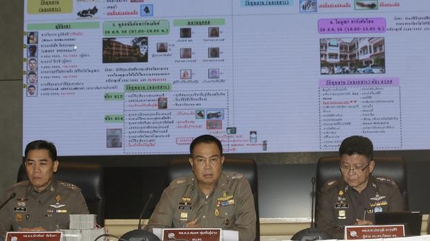 Thai police update the media over the Bangkok bombing suspects. (AP)