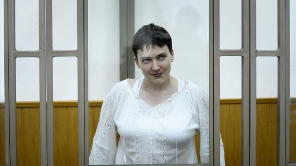 Nadezhda Savchenko is charged with the deaths of two Russian journalists in eastern Ukraine. (AP)