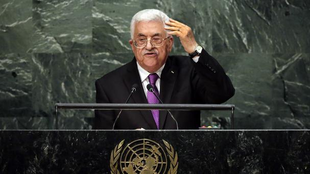 Palestinian leader President Mahmoud Abbas addresses the 70th session of the United Nations General Assembly. (AP)