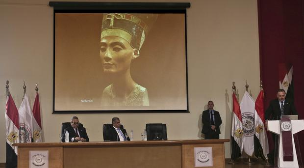 Nicholas Reeves, right, speaks during a press conference in Cairo, Egypt. (AP)