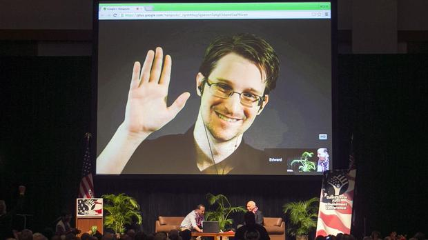 Edward Snowden on a video feed broadcast from Moscow at an event sponsored by ACLU Hawaii in Honolulu. (AP)