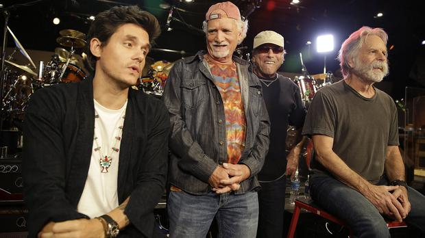From left, the Grateful Dead's John Mayer, Bill Kreutzmann, Mickey Hart and Bob Weir hold court at a California music studio (AP)