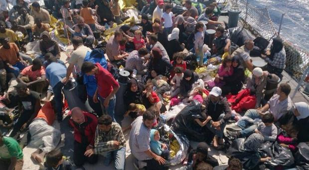 Migrants and refugees on a boat from Zuwarah in Libya bound for Italy (Migrant Voice UK/PA)