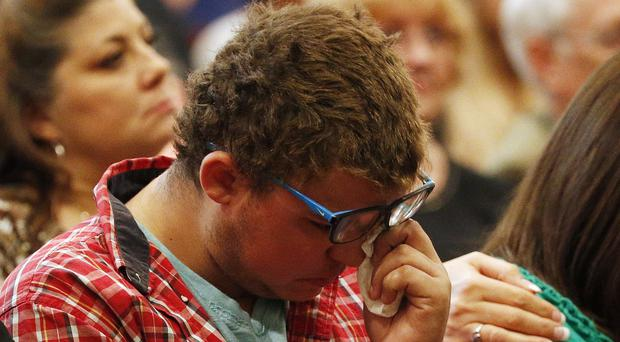 Mathew Downing during a church service in Roseburg (AP)