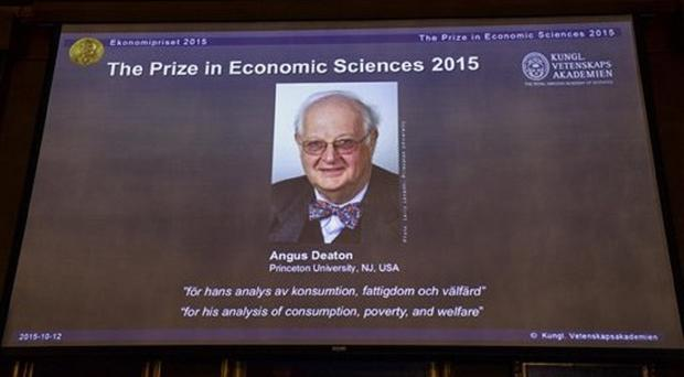 A view of the screen showing an image of Professor Angus Deaton in Stockholm (Maja Suslin/TT News Agency via AP)