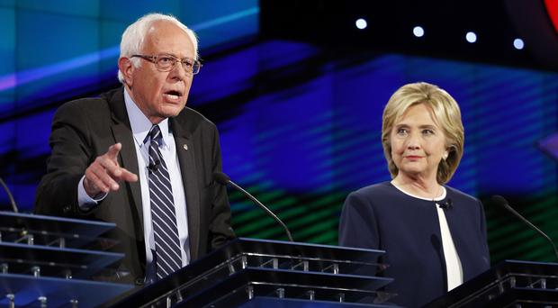 Bernie Sanders and Hillary Clinton at the Democratic presidential debate in Las Vegas. (AP)