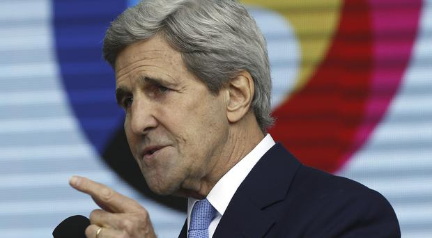US secretary of state John Kerry speaks at the Expo World's Fair in Milan (AP)