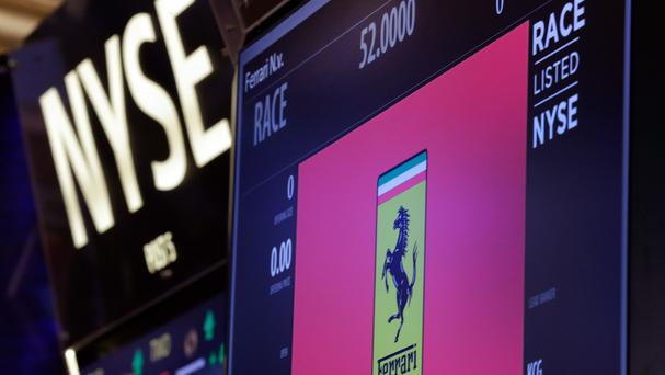 A trading post on the floor of the New York Stock Exchange is ready for Ferrari's initial public offering. (AP)